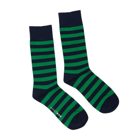 Navy Green Stripe Socks