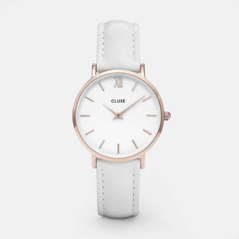 Minuit Cluse Watch | Rose Gold & White Strap