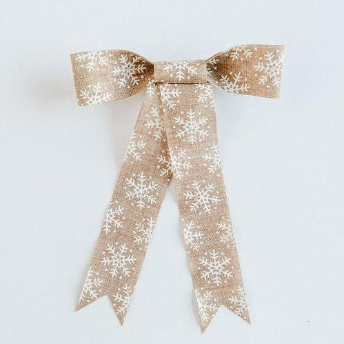 Handmade Wreath Bow | White Snowflake