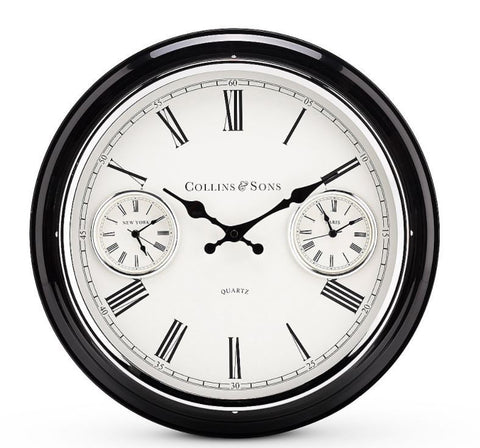 Collins Metal Multi Time Wall Clock | 41cm