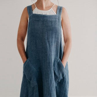 Crossback Piper Linen Apron | Denim