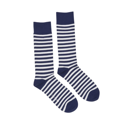Navy White Stripe Socks