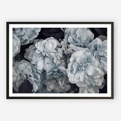 Blue Blooms Canvas | Black