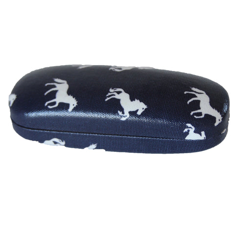 Navy Horse Glasses Case