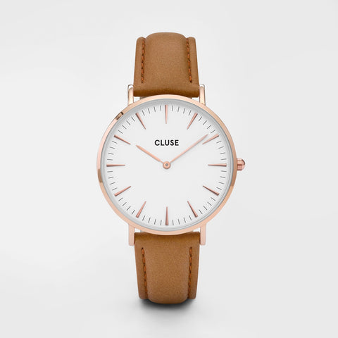 La Boheme Cluse Watch | Rose Gold & Caramel Strap