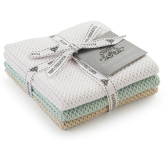 Knitted Scullery Cloths | Pumice/Seafoam/White