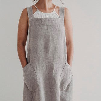 Harlow Woven Linen Apron | Cross Back | Putty