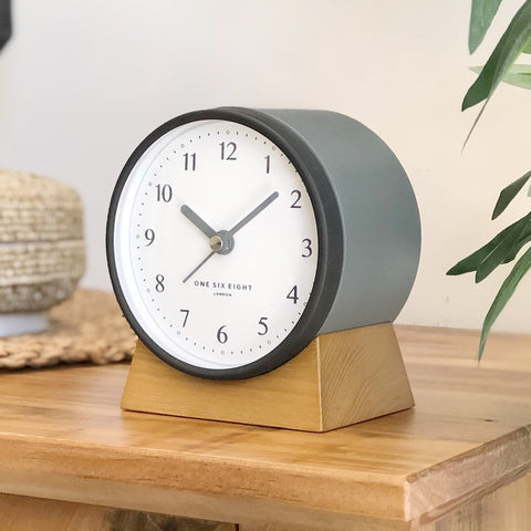 Nina Charcoal Grey Alarm Clock