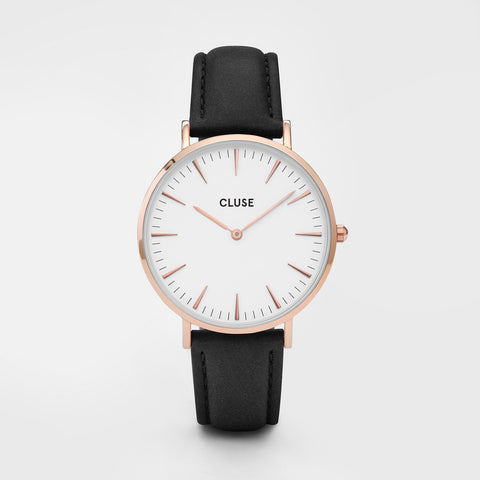 La Boheme Cluse Watch | Rose Gold & Black Strap