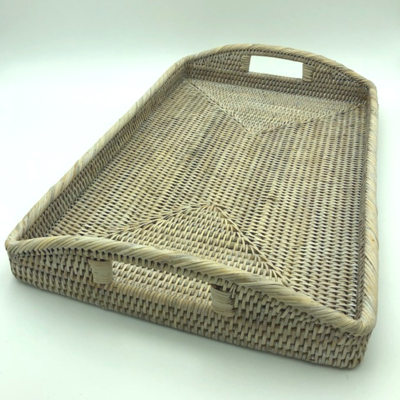 Tray - With handles - white wash