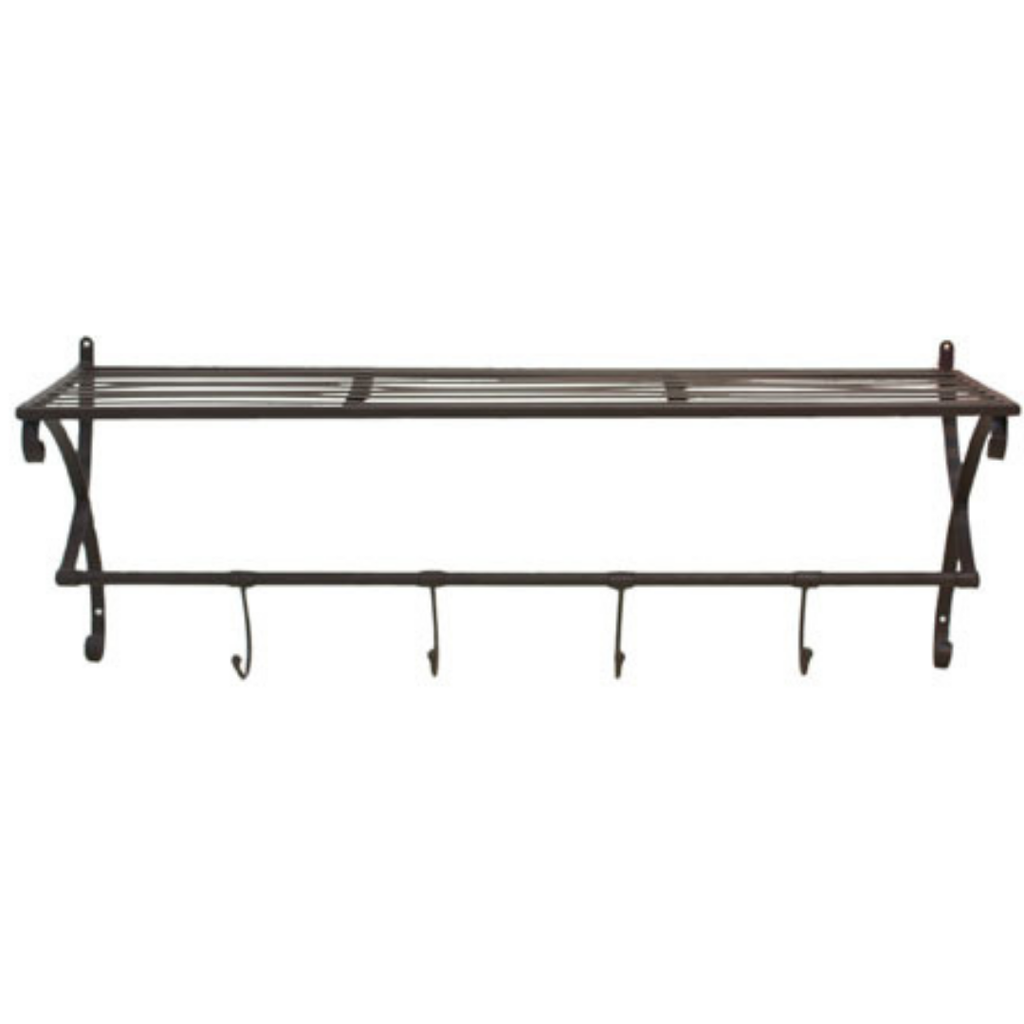 Shelf - metal w/ hooks - black