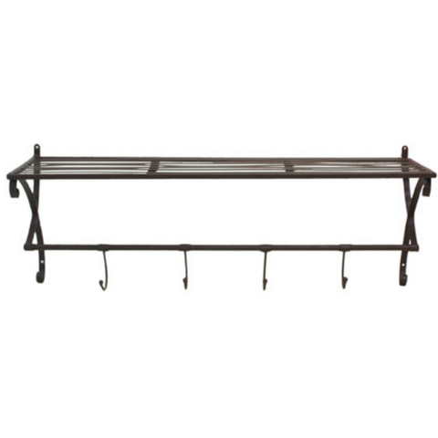 Metal Shelf With Hooks | Black