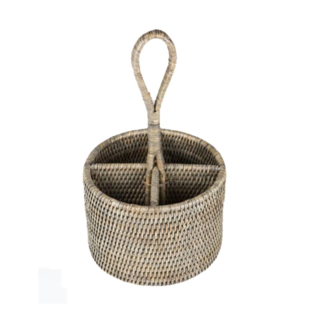 Round Rattan Caddy | Antique Finish