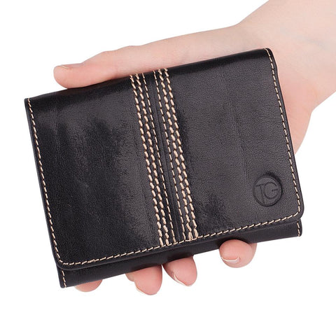 The Keeper | Black Trifold Wallet with Note & Coin