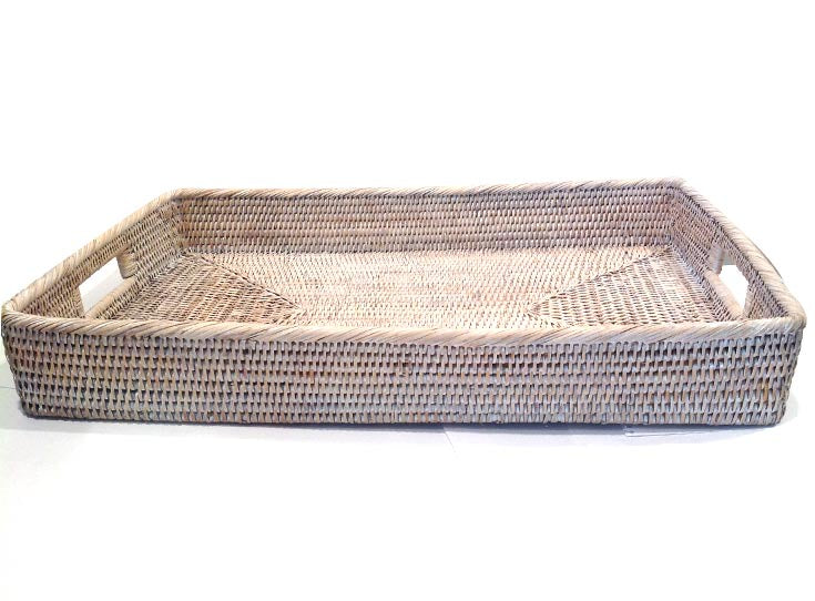 Rectangle Tray | Rattan | White wash