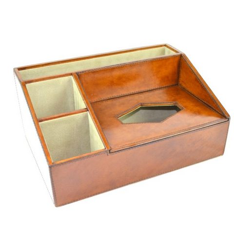 Desk Organiser | Tan Leather