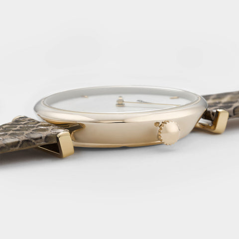 Cluse Triomphe Watch | Gold / White Pearl | Soft Almond Python Band