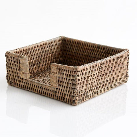 Square Napkin Holder | Rattan | Old Grey