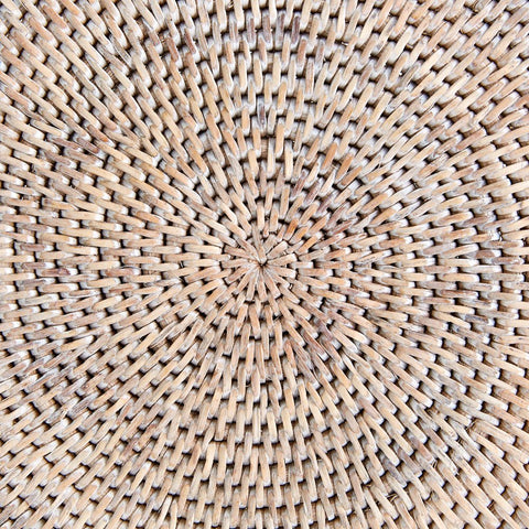 Round Rattan Placemat | White Wash