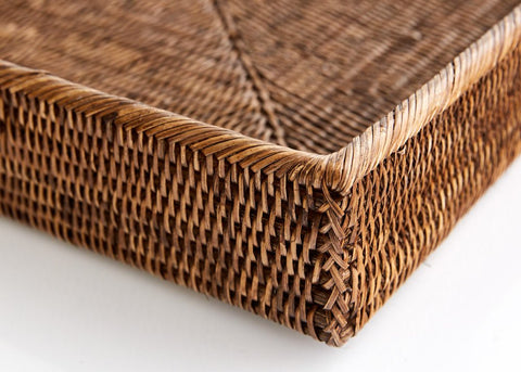 Square Tray | Rattan | Antique