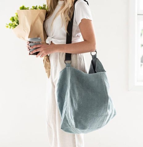 Jute Slouchy Bag | French Blue