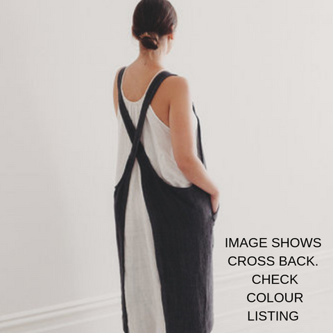 Harlow Woven Linen Apron | Cross Back | Denim