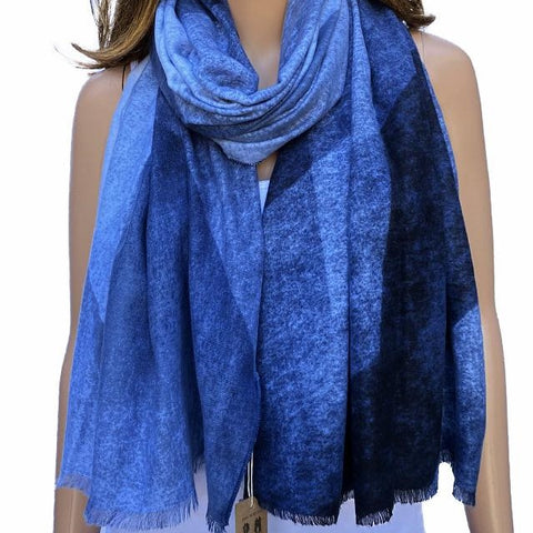 Blue Check Winter Scarf