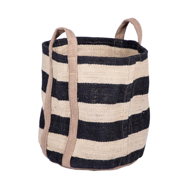 Stripe Jute Storage Bag