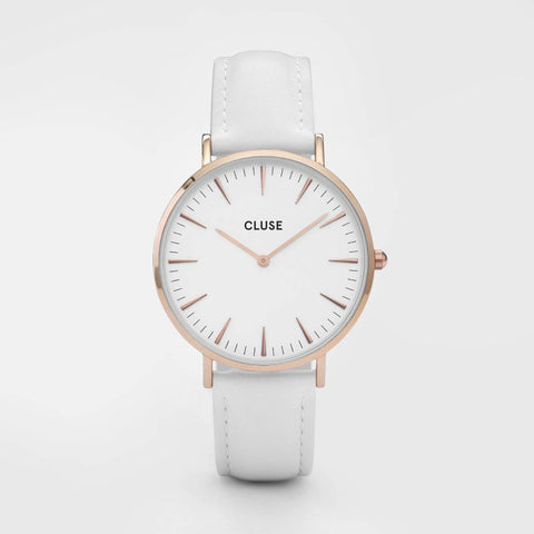 La Boheme Cluse Watch | Rose Gold & White Strap