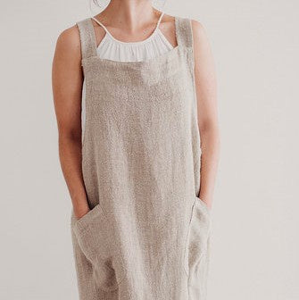 Woven Linen Apron | Cross Back | Natural
