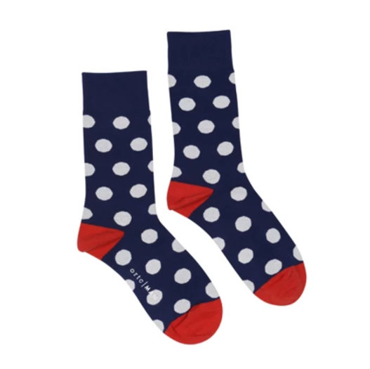 Socks - Cotton Nylon Spandex - Navy White Spots