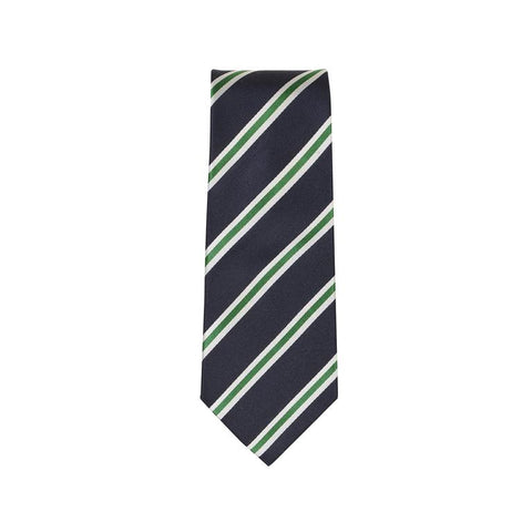 Green & White Stripe Silk Tie