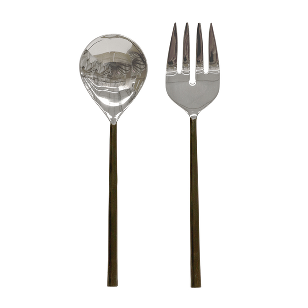 Salad Servers - Burnished Black and Stainless Steel -#