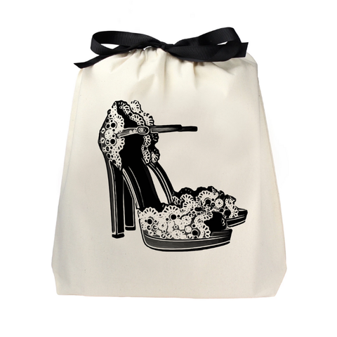 Floral High Heels Shoe Bag