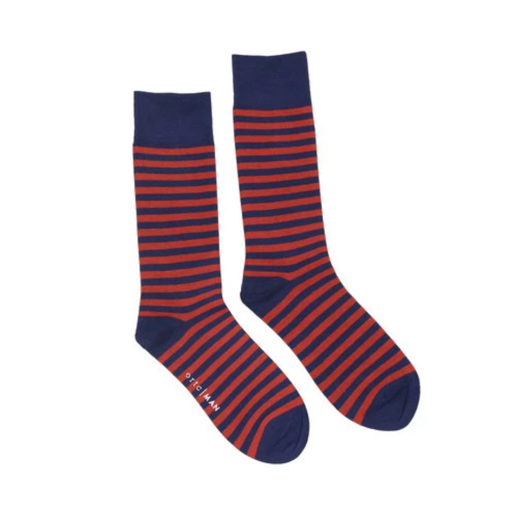 Navy Red Stripe Socks