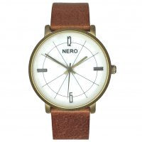 NERO Ladies Mother of Pearl Watch | Brown & Gold