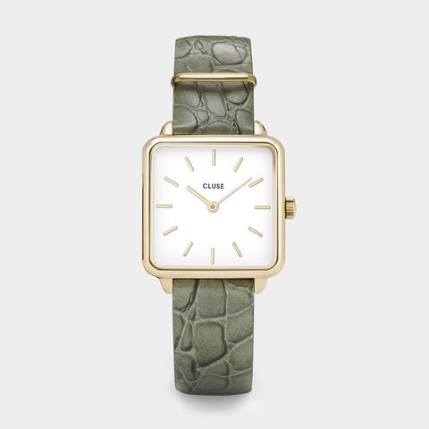 Cluse La Tetragone Watch | Gold & White | Green Alligator