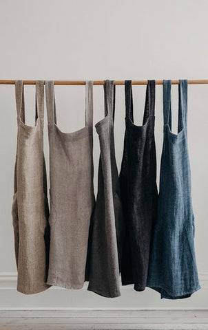Apron - Harlow - Woven Linen - Cross Back - Denim