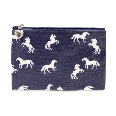 Navy Horses Wallet Zip Case