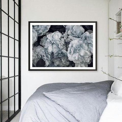 Blue Blooms Canvas | Black Frame