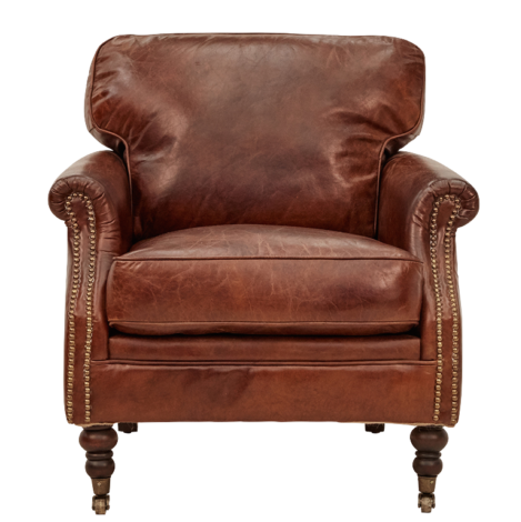 Chair - Winchester - Aged Leather - Cigar- Origin: China - 79 x 90 x 83cm