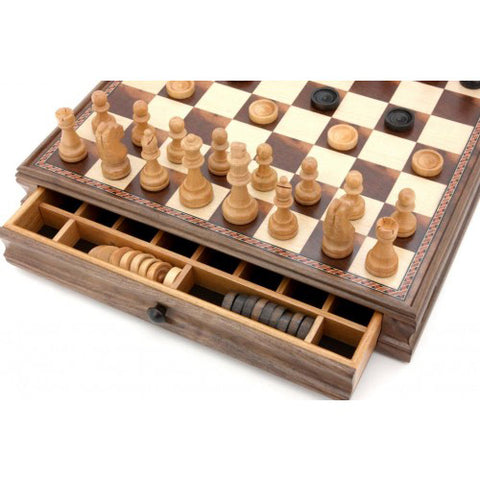 Dal Rossi Chess & Checkers Set | Double Weighted Chess Pieces