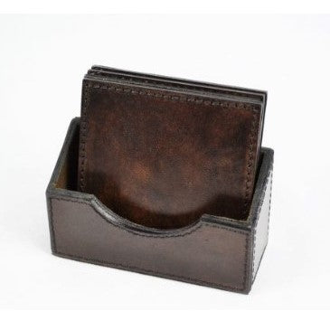 Square Coasters | Dark Leather