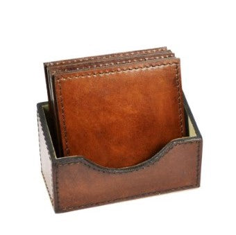 Square Coasters | Tan Leather