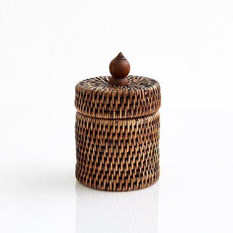 Cotton Wool Holder | Rattan | Antique