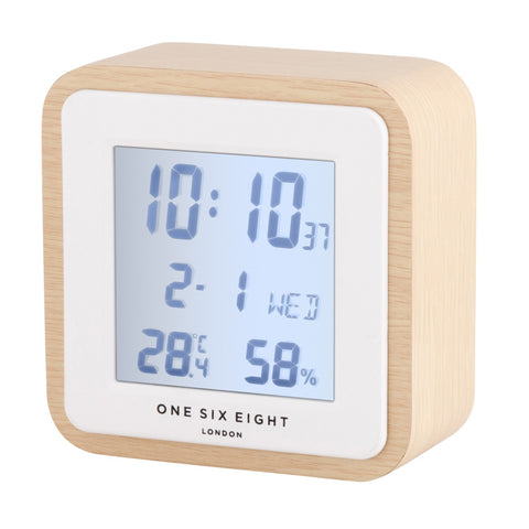 Square Wooden Digital Alarm Clock
