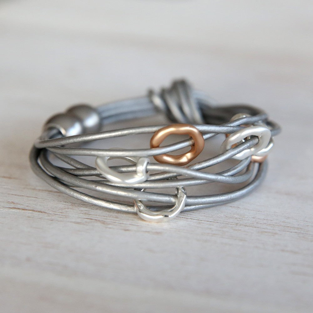 Bracelet - Silver w/wrap around natural leather