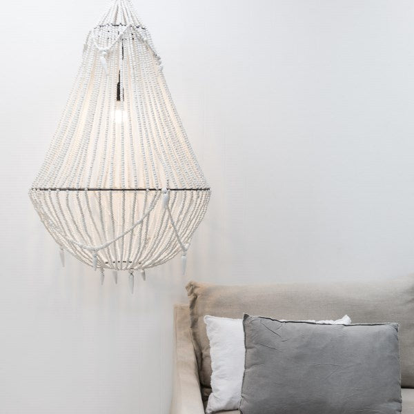 White Beaded Aria Chandelier