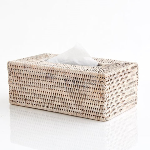 Rectangle Tissue Box Holder | Rattan | White Wash