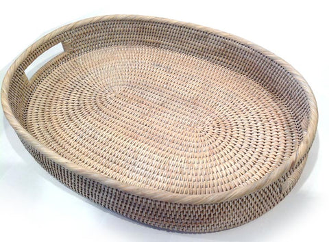 Oval Tray | Rattan | White Wash
